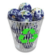 Many Earths in Recycling Basket