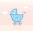 roleta: Blue pram or stroller for baby boy. Vector Illustration.