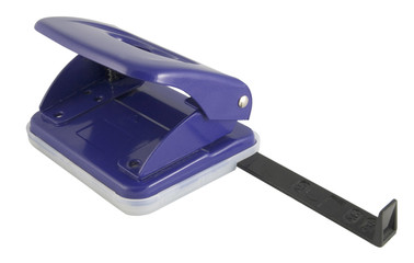 dark blue paper hole punch isolated on white