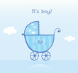 roleta: Blue pram for boy. It's boy! VECTOR ILLUSTRATION.