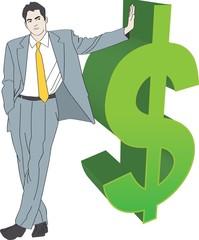 businessman green dollar