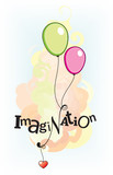 Vector illustration with Imagination sign poster