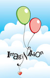 Vector illustration with Imagination text poster