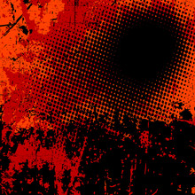 Grunge vector background in black and orange