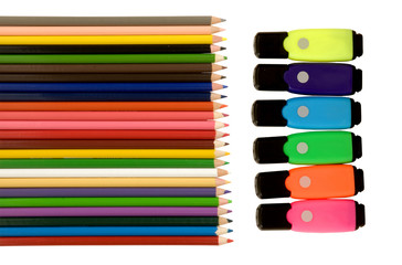 ASSORTMENT OF PENCILS AND HIGHLIGHTERS