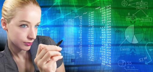Financial Woman and Abstract Charts