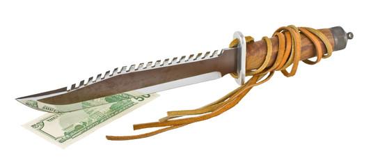 hunting knife with teeth cut fifty dollars