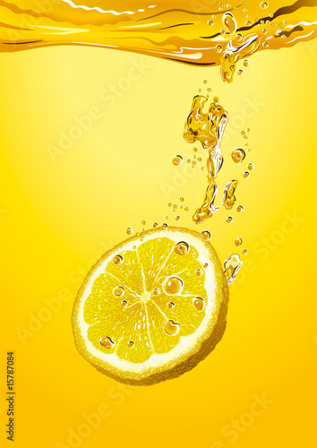 Lemon slice with bubbles