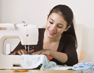 Beautiful Girl Sewing
