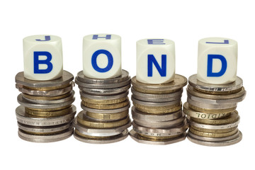 Stacks of coins with the word bond isolated on white background