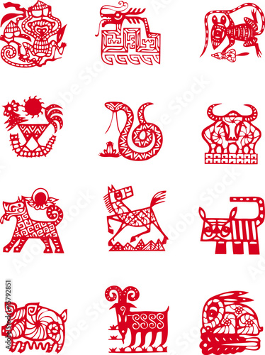 Chinese ancient zodiac animal year symbol