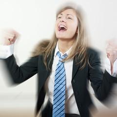 femme d'affaires flou et succès en mouvement