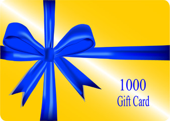 gift card with blue ribbon. vector