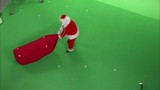 Santa Claus on green screen with markers ready for compositing