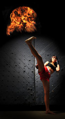 Asian Woman Practicing Muay Thai Boxing In Underground Tunnel
