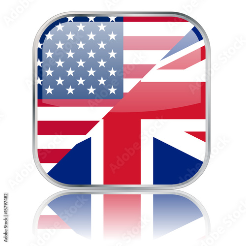 "Square ""American/British English"" button with reflection"