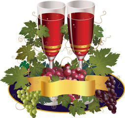 two glasses with wine and colorful grape