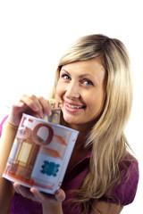 woman saving money