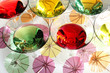Multicolored martinis and colorful umbrellas