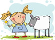 Funny girl with flower and sheep