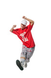 Cool breakdancer making out on white background