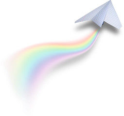 Paper airplan with rainbow tail