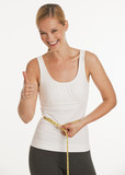young woman measuring herself and giving thumbs up poster