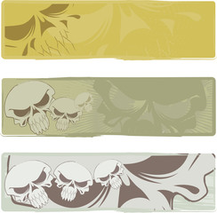 Three vector backgrounds on the basis of an abstract skull