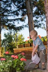 Boy watering flowers 2