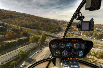 View from the helicopter cockpit