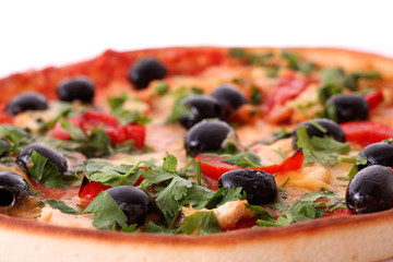 Tasty pizza with olives isolated on white