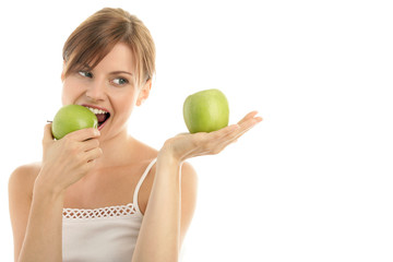 Beauty woman with two green apples