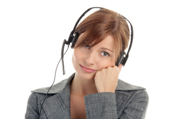 Tired secretary/telephone operator wearing headset