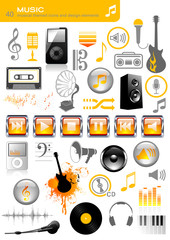 set of 40 music icons