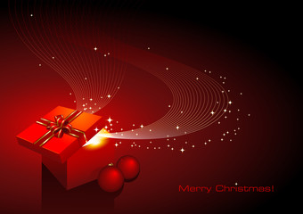 christmas background with gift and ornaments