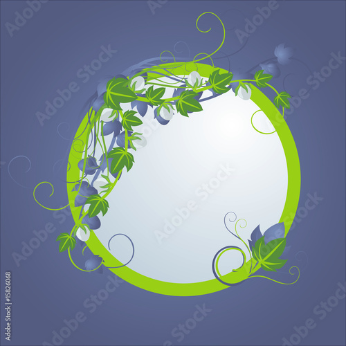 round vignette with vegetable pattern
