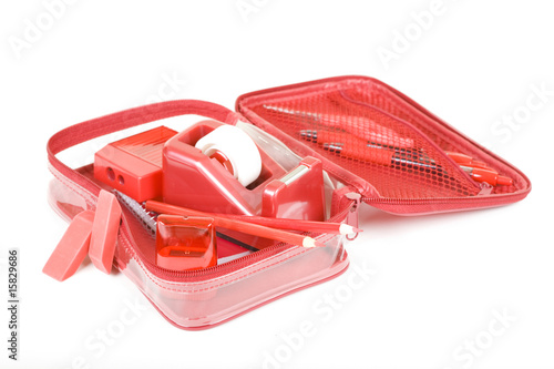 Red Pen Case with Red School Set