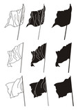 Simple linear vector flags silhouettes poster