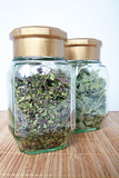 Green tea thyme in a glass jar