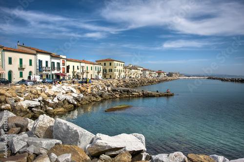 Widok Marciana Marina, Włochy.