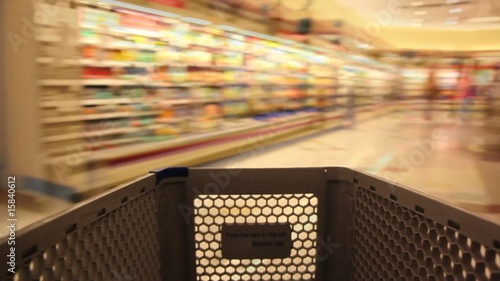 Shopping Cart in the Grocery Store – Time Lapse