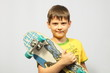 The boy with a skateboard