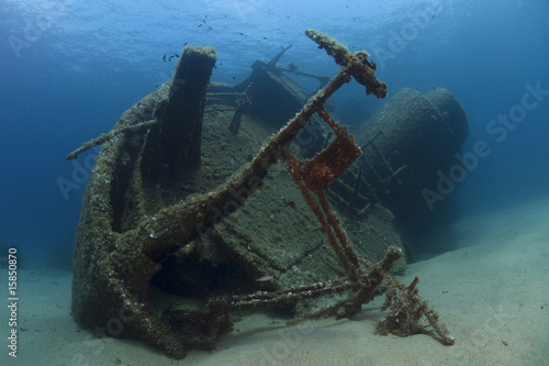 A wreck of a ship lying on the seabed
