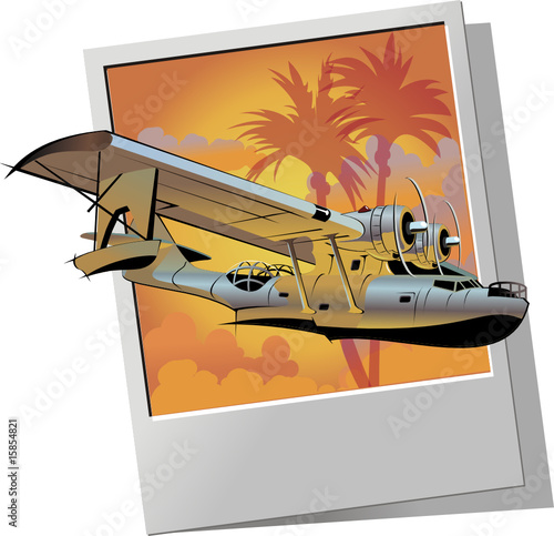 Vector retro seaplane
