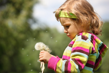 small thoughtful girl with dandelions in hand