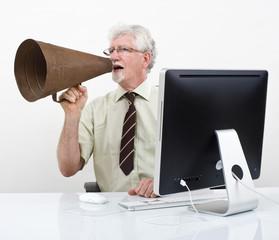 senior businessman megaphone