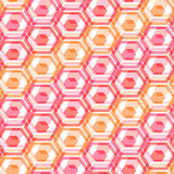 Red hexagon abstract. Seamless pattern poster