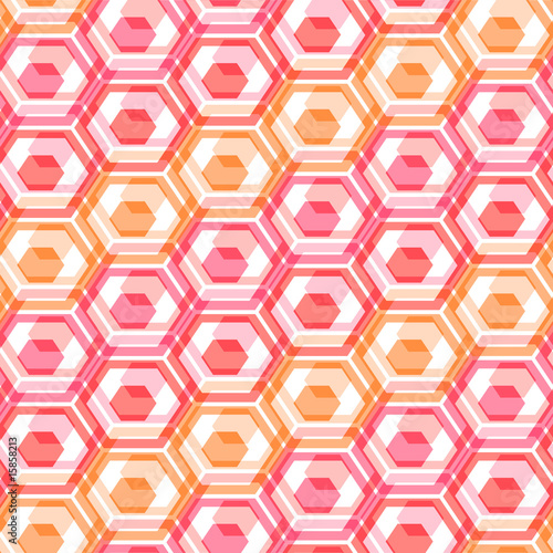 Red hexagon abstract. Seamless pattern