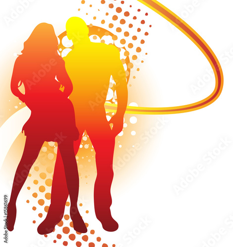 Beautiful couple silhouette with grunge summer background