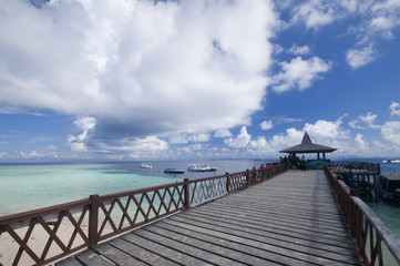 Tropical sipadan island jetty